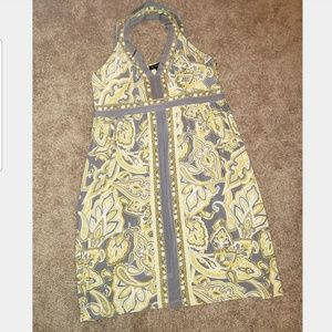 Women's New INC Yellow/Gray Cross Strap Dress L